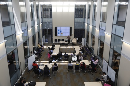 Seminar in session in the atrium